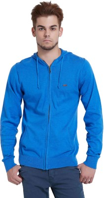 Breakbounce Solid Round Neck Casual Men,s Blue Sweater