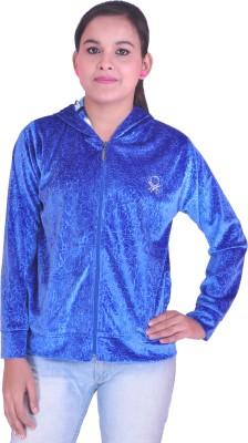 Krazzy Collection Full Sleeve Solid, Self Design Women's Sweatshirt
