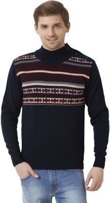 Peter England Geometric Print Round Neck Men's Blue, Maroon Sweater