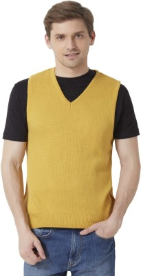 Peter England Solid V-neck Men's Yellow Sweater