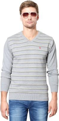 Allen Solly Woven V-neck Sports Men's Grey Sweater