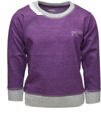 Pepito Full Sleeve Solid Girl's Sweatshirt