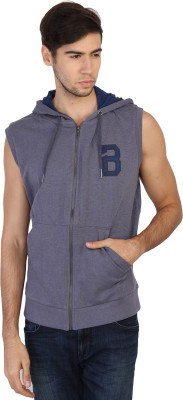 Being Human Clothing Sleeveless Solid Men's Sweatshirt