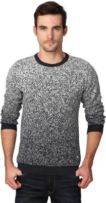 Van Heusen Woven Round Neck Casual Men's Black Sweater