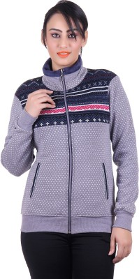 Dezyn Full Sleeve Self Design, Printed Women's Sweatshirt