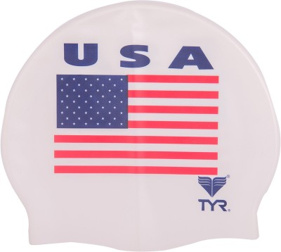 TYR Usa Silicon Swimming Cap(White, Pack of 1)