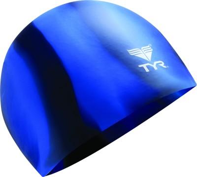 TYR Multi Color Silicone Swimming Cap(Blue, Black)
