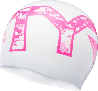 TYR Pink Silicone Swimming Cap(Pink, White)