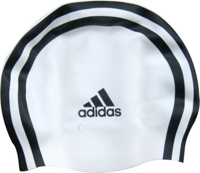Adidas Silicon Swimming Cap(White, Black, Pack of 1)
