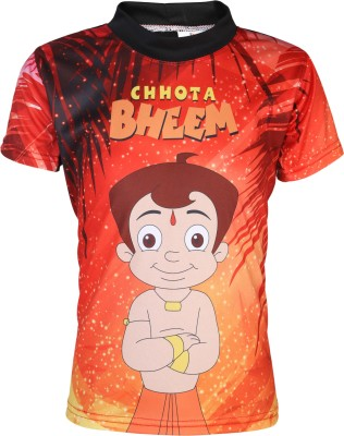Chhota Bheem Graphic Print Boy,s, Girl's Round Neck Red, Orange T-Shirt