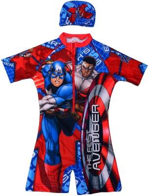 Shopaholic Fashion shopaholic fashion avenger printed zipper full disney swimming costume set Printed Girl,s