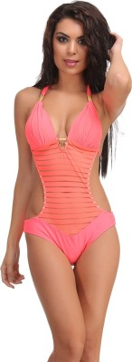 Clovia Clovia Orange Polyamide Monokini Swimsuit With Jacquard Stripes Solid Girl,s