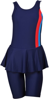 Champ Padded Swimwear Frock with Half leg Striped Women,s