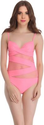 Clovia Clovia Polyamide & Powernet Monokini SwimSuit In Pink Solid Women,s