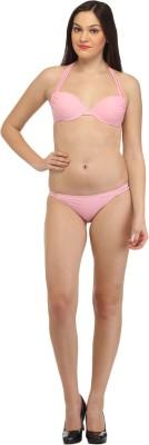 Secret Wish Baby Pink Strappy Halter Bikini Solid Girl,s