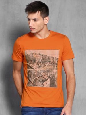 WROGN Printed Men's Round Neck Orange T-Shirt