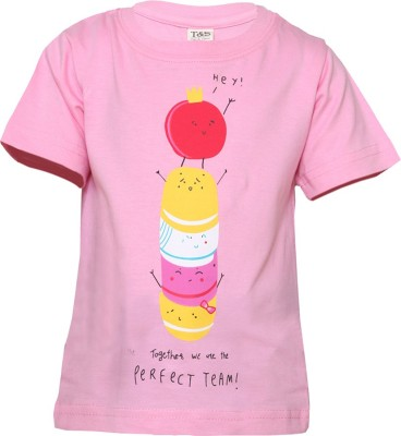 Tales & Stories Graphic Print Girl's Round Neck Pink T-Shirt