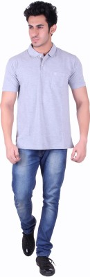 SEABOARD Solid Men,s Polo Neck Grey T-Shirt