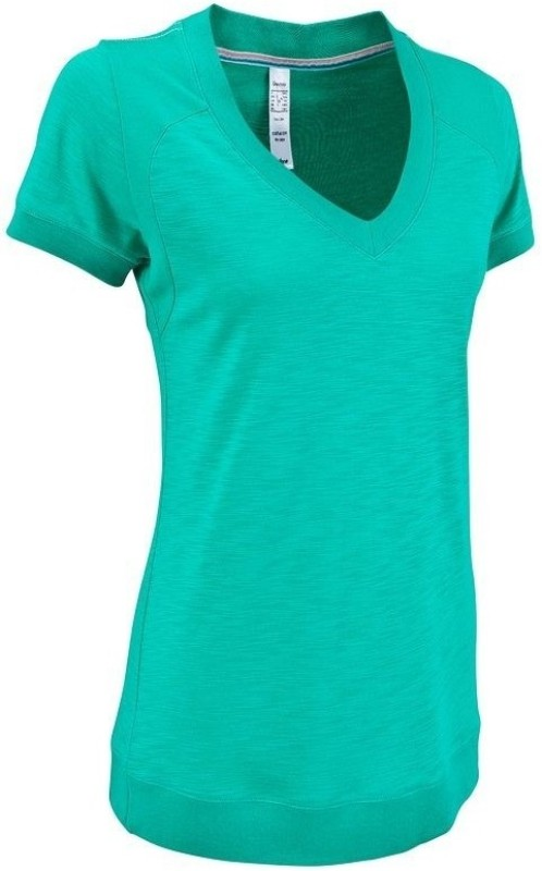Quechua Solid Women's V-neck Green T-Shirt