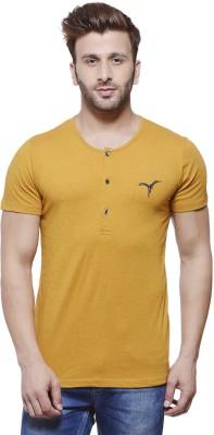 MONTEIL & MUNERO Solid Men's Henley Yellow T-Shirt