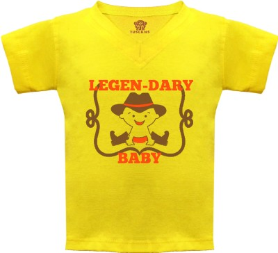 Tuscans Graphic Print Baby Boy's V-neck Yellow T-Shirt