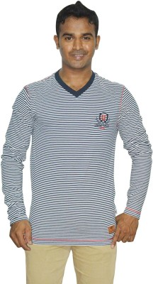 Linking Threads Striped Men's V-neck Multicolor T-Shirt