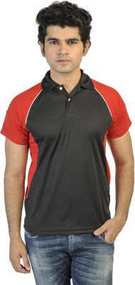 T10 Sports Solid Men's Polo Black, Red T-Shirt