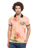 Garcon Printed Men's Polo Neck Orange T-...