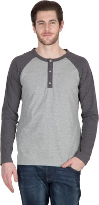 Hypernation Solid Men's Henley Black, Grey T-Shirt