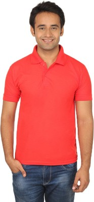 Quetzal Solid Men's Polo Neck Red T-Shirt