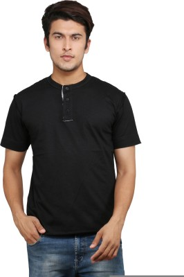Chinese Solid Men's Round Neck Black T-Shirt