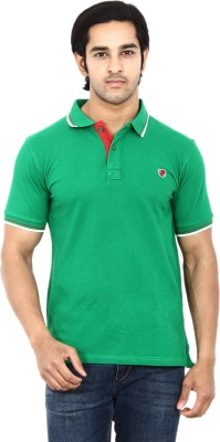 STACKIA Solid Men's Polo Neck Light Green T-Shirt