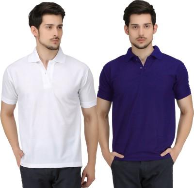 Krazy Katz Solid Men's Polo Neck White, Blue T-Shirt