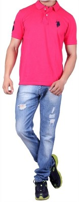 ganesh creation Solid Men's Polo Neck Pink T-Shirt