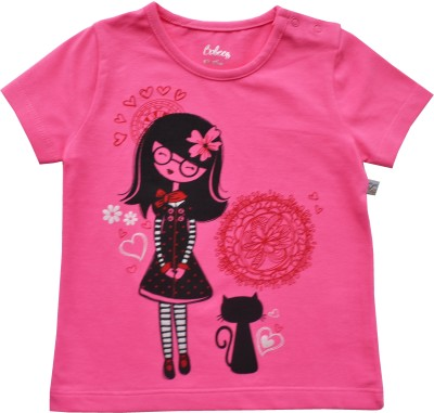 Babeez Solid Baby Girl's Round Neck Pink T-Shirt