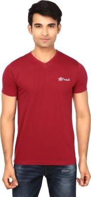Strak Solid Men's V-neck Maroon T-Shirt