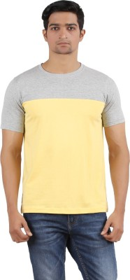 SK Solid Men,s Round Neck Grey, Yellow T-Shirt