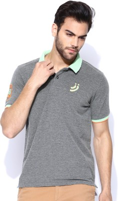 Jn Joy Solid Men's Polo Neck Grey T-Shirt