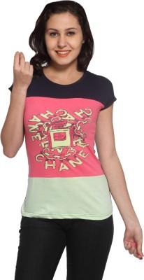 Maatra Printed Women,s Round Neck Multicolor T-Shirt
