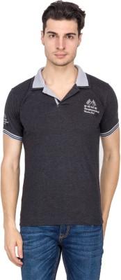 V9 Printed Men's Polo Neck Black T-Shirt