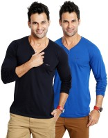 Rodid Solid Men's V-neck Blue T-Shirt(Pack of 2)