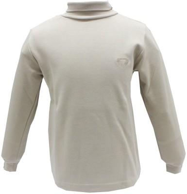 Romano Solid Girl's Turtle Neck Beige T-Shirt