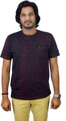 JEANLUC Self Design Men's Round Neck Red T-Shirt