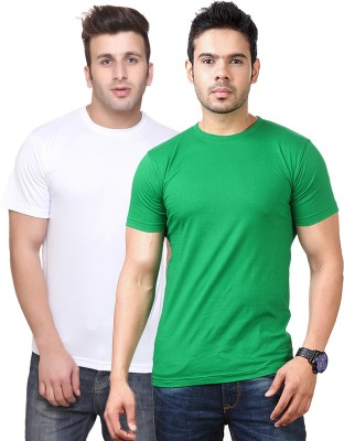 Funky Guys Solid Men's Round Neck Multicolor T-Shirt