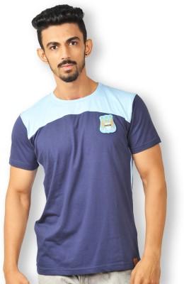 Manchester City FC Solid Men's Round Neck Blue T-Shirt