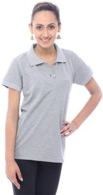 Unicolr Solid Women's Polo Neck Grey T-Shirt