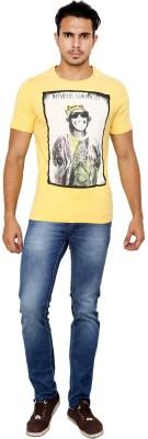 Blue Buddha Graphic Print Men's Round Neck Yellow T-Shirt