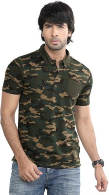 Difference Of Opinion Printed Men's Polo Green T-Shirt