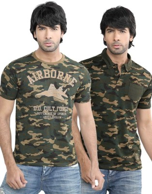 Difference Of Opinion Printed Men's Polo Neck Green T-Shirt