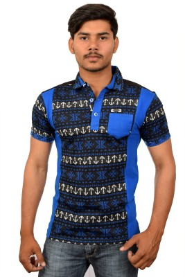 YOUTH & STYLE Printed Men's Polo Neck Blue T-Shirt